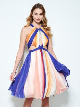 Color Block Pleats Hollow Knee-Length Homecoming Dress