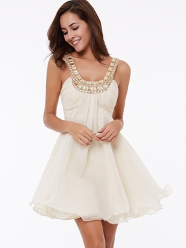 Delicate Straps Beading Short Homecoming Dress