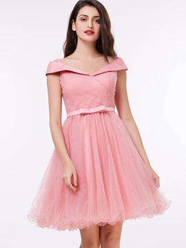 Pretty Off the Shoulder Pleats Bowknot Homecoming Dress