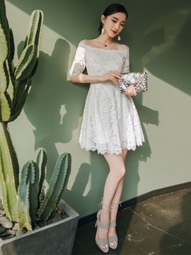 Short Off-The-Shoulder Lace A-Line Homecoming Dress 2019