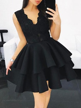 V-Neck A-Line Ruched Sleeveless Homecoming Dress 2019