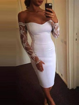 Long Sleeves Off-The-Shoulder Lace Tea-Length Homecoming Dress 2019