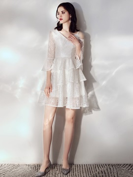 V-Neck 3/4 Length Sleeves A-Line Lace Homecoming Dress 2019