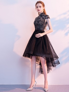 Asymmetry A-Line Appliques Cap Sleeves Homecoming Dress 2019