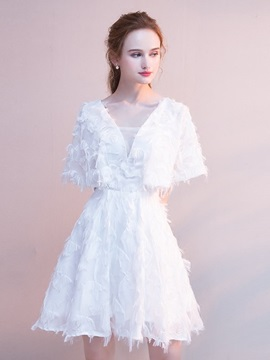 Short Sleeves Square Short A-Line Homecoming Dress 2019