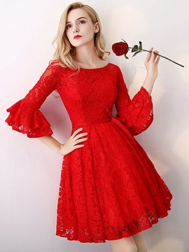 A-Line Knee-Length Lace Scoop Homecoming Dress 2019