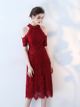 Short Sleeves Sheath Tea-Length Lace Homecoming Dress 2019