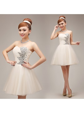 Lovely Mini-Length A-Line Sweetheart Beaded Lace-up Homecoming Dress