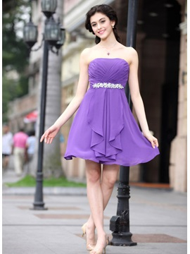 Modern Strapless A-Line Short/Mini Crystal Ruched Homecoming Dress