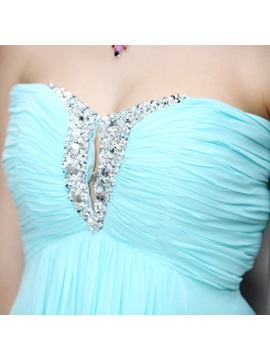 Pretty Sweetheart Sequins Knee-Length Pleats A-Line Homecoming Dress
