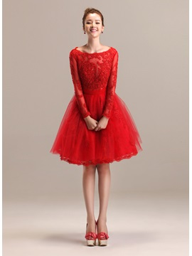 A-Line Appliques Long Sleeves Bateau Neckline Short Prom Dress