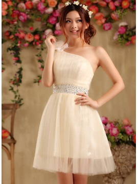Cute One-Shoulder Flower Sequins Lace-up Short-length Sweet 16 Dress
