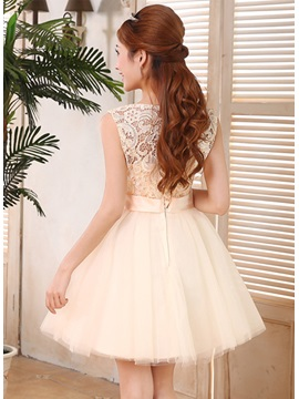 A-Line Lace Bowknot Scoop Neckline Straps Short 16/Homecoming Dress