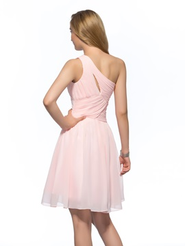 One-Shoulder Ruched A-Line Homecoming Dress
