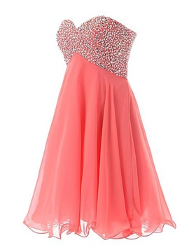 Sweetheart Sequined Beading Watermelon Homecoming Dress