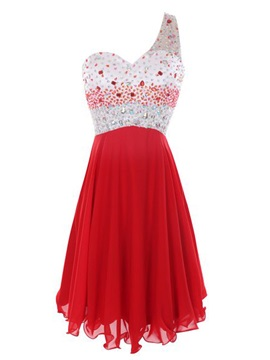 One-Shoulder Beaded Short Red Homecoming Dress