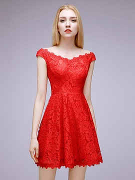 Fancy A-Line V-Neck Straps Short Red Lace Homecoming Dress