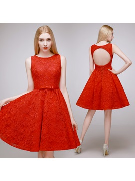 Amazing Scoop Neck Bowknot A-Line Knee-Length Lace Homecoming Dress