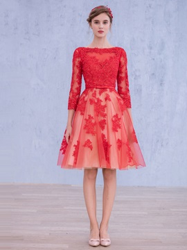 Fancy Bateau Neck 3/4-Length Sleeve Appliques Knee-Length Homecoming Dress