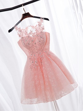 Straps Appliques Sequins Lace Homecoming Dress