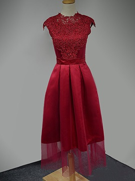 Fancy Cap Sleeves A-Line Lace Tea-Length Homecoming Dress