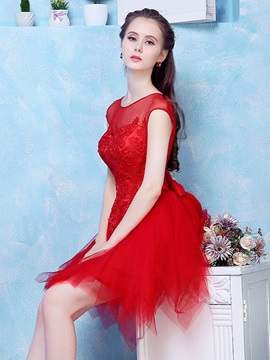 Illusion Neck Cap Sleeves Appliques Red Homecoming Dress