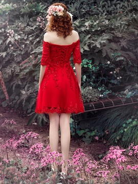 Pretty Off the Shoulder Appliques Beading Red Homecoming Dress