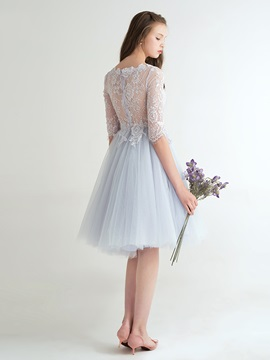 Fancy Bateau Neck Half Sleeves Lace Homecoming Dress