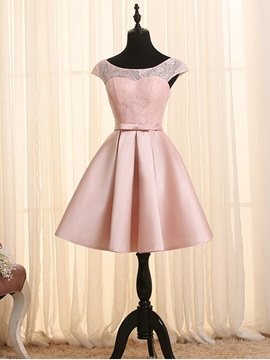 Fancy Scoop Neck Cap Sleeves Lace Homecoming Dress