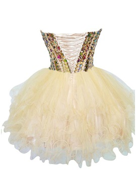 Pretty Sweetheart Tiered Beading Short Homecoming Dress