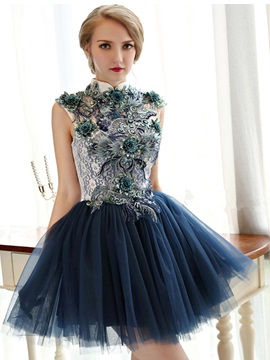 Vintage High Neck Appliques Short Homecoming Dress