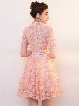 High Neck A-Line Bowknot Lace Homecoming Dress