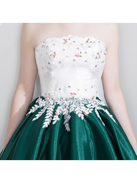 Strapless Appliques Beading A-Line Pearls Homecoming Dress