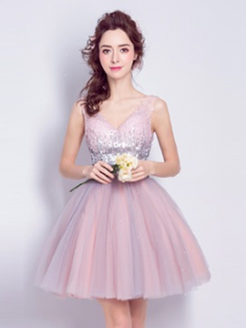 V-Neck Sleeveless Sequins A-Line Short Homecoming Dress