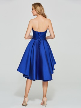 Sweetheart Lace Sequins Dark Royal Blue Homecoming Dress