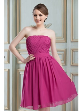 Cheap Ruched A-Line Strapless Knee-Length Nadya's Bridesmaid Dress