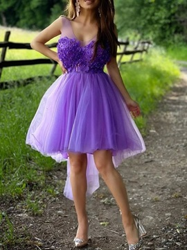 A-Line V-Neck Ankle-Length Sleeveless Quinceanera Homecoming Dress