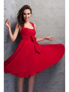 Cheap Halter Ruffles Knee-Length Bowknot Renata's Homecoming Dress