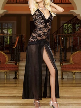 Deep V Neck Floral Lace Black Long Dress