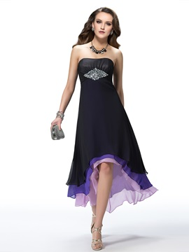 A-Line Asymmetry Tiered Beading Party Dress