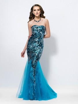 Attractive Sequins Trumpet Strapless Court Train Long Evening Dress Designed & Designer Dresses online
