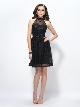 Stunning High-Neck Lace Beading Knee-Length Cocktail Dress Designed & formal Designer Dresses
