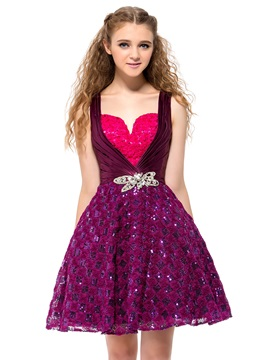 Lovely Straps Sweetheart Sequins Crystal A-Line Short Homecoming Dress