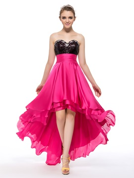 Sweetheart Sequins Beading Asymmetrical A-Line Prom/Homecoming Dress & fashion Designer Dresses