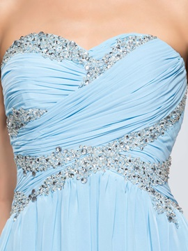 Dazzling Sweetheart Sequins Pleats A-Line Long Prom Dress Designed