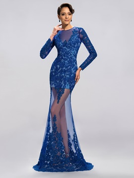 Tulle Neckline Column Appliques Long Evening Dress Designed