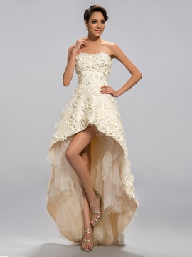 Dramatic Sweetheart Flowers Beading Asymmetrical Prom Dress Designed