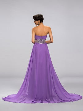 Eye-catching A-Line Sweetheart Empire Waistline Beading Long Prom Dress Designed