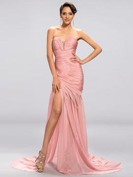 Sweetheart Pleats Beading Split Front Evening Dress