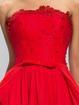 Fine Strapless A-line Lace Sequins Long Prom Dress Designed